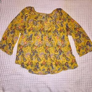 Vera Wang mustard colored blouse
